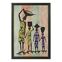 'Working Together II' - African Painting Batik and Calico Signed and Framed