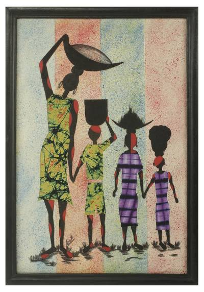 Cotton batik wall art, 'Working Together II' - African Painting Batik and Calico Signed and Framed