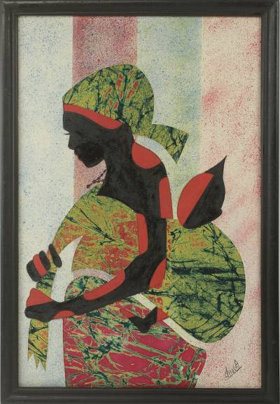 Cotton batik wall art, 'Good Akan Mother' - Artisan Crafted Framed African Folk Art Motherhood Painting
