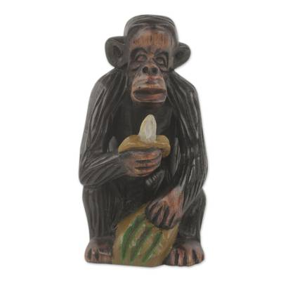 Hand Carved Monkey Theme African Ebony Sculpture