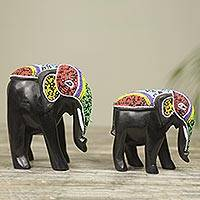 Wood sculptures, 'Colorful African Elephants' (pair) - Hand Carved Elephant Beaded Wood Sculptures (Pair)