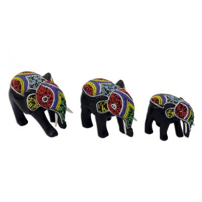 Beaded Wood Hand Carved Elephant Sculptures (Set of 3)
