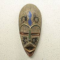 African wood mask, 'Opanyin' - Authentic African Mask Handcrafted in Ghana