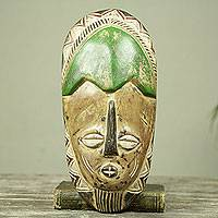 African wood mask, 'Awotse' - African Father Wood Wall Mask Crafted by Hand in Ghana