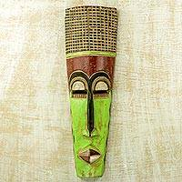 African wood mask, 'Tall Man' - Slender 20-Inch Hand Carved Neon Green West African Mask