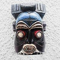 African wood mask, 'Ibo' - Colorful Igbo Style Wooden Wall Mask from Ghana