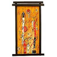 'Adowa Dance' - Original African Painting on Canvas with Wood Frame