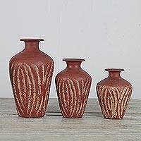 Ceramic vases, 'Earthen Gift' (set of 3) - Handcrafted Brown Ceramic Vases from Ghana (Set of 3 )