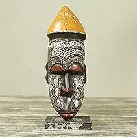 African wood mask, 'Congo King' - Artisan Crafted African Mask and Stand