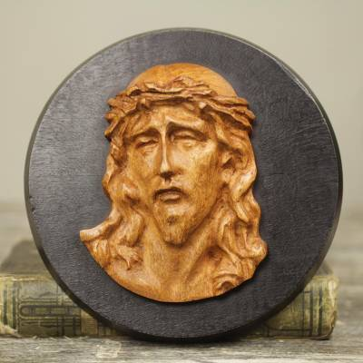 Teak relief sculpture, 'Agony of Christ ' - Hand Carved Teak Wood Wall Sculpture Depicting Jesus