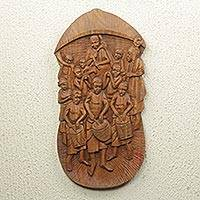 Teak relief panel, 'Chief's Procession'