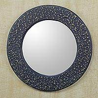 Wall mirror, 'Cape Coast Sea' - Blue Handcrafted Wall Mirror from Ghana