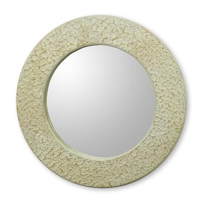 Wall mirror, 'Cape Coast Cream' - Ghana Cream and White Handcrafted Wall Mirror