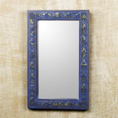 Wood and brass wall mirror, 'Antique Blue' - Handcrafted Wall Mirror in Rustic Blue with Brass Inlay