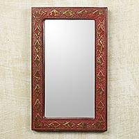 Wall mirror, 'Antique Scarlet' - Ghana Artisan Crafted Rustic Wall Mirror in Red