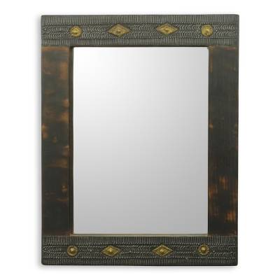African Artisan Crafted Rustic Wood Wall Mirror from Ghana