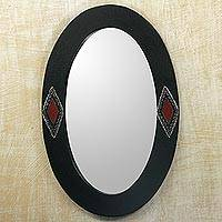 Wood wall mirror, 'Diamond Eyes' - Oval Shaped Wood Framed Wall Mirror with Diamond Motifs