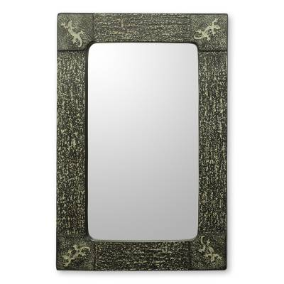 Wall mirror, 'Vintage Gecko' - Handcrafted African Lizard Theme Wall Mirror