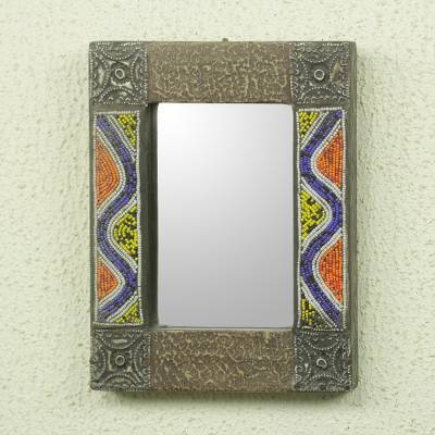 Beaded wood wall mirror, 'Ahoufe I' - Hand Beaded Wood Wall Mirror with Metal Accents