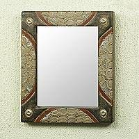 Wood wall mirror, 'Looking Lovely' - Modern African Handcrafted Wall Mirror from Ghana