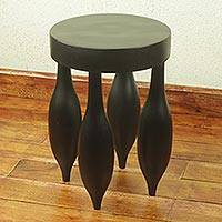 Cedar stool, 'Black Balloon' - Artisan Crafted Modern African Cedar Wood Stool