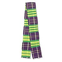 Cotton blend kente cloth scarf, 'Nyiraba' (5 inch width) - Narrow Purple and Green Kente Cloth Scarf (5 Inch Width)