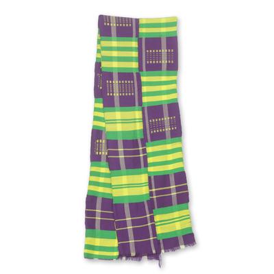 Cotton blend kente cloth scarf, 'Nyiraba' (9 inch width) - Purple Green and Yellow Kente Cloth Scarf (9 Inch Width)