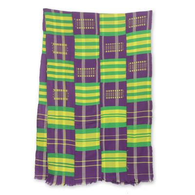Cotton blend kente cloth scarf, 'Nyiraba' (18 inch width) - Colorful Kente Cloth Scarf from Africa (18 Inch Width)