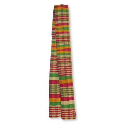 Cotton blend kente cloth scarf, 'Obaahema' (4 inch width) - Hand Woven Multicolor Kente Cloth Scarf (4 Inch Width)