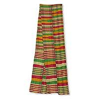 Cotton blend kente cloth scarf, 'Obaahema' (8 inch width) - Authentic African Kente Scarf from Ghana (8 Inch Width)