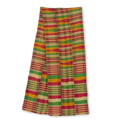 Cotton blend kente cloth scarf, 'Obaahema' (12 inch width) - Pink Green and Orange Kente Cloth Scarf (12 Inch Width)