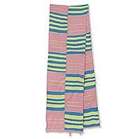 Cotton blend kente cloth scarf, 'Faith' (9 inch width) - Pastel Cotton Blend African Kente Cloth Scarf (9 Inch Width)