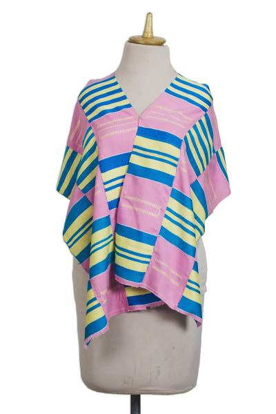 Cotton blend kente cloth scarf, 'Faith' (13 inch width) - Handmade Pink Cream and Blue African Kente Scarf