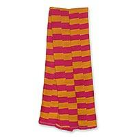Cotton blend kente cloth scarf, 'Pink Lady' (9 inch width) - Handcrafted Kente Scarf in Pink and Orange (9 Inch Width)