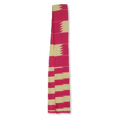 Cotton blend kente cloth scarf, 'Odehye Ba' (4 inch width) - Cerise and Ivory Cotton Blend Kente Scarf (4 Inch Width)