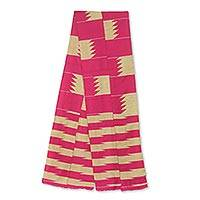 Cotton blend kente cloth scarf, 'Odehye Ba' (9 inch width) - Cotton Blend Kente Scarf in Pink and Ivory (9 Inch Width)