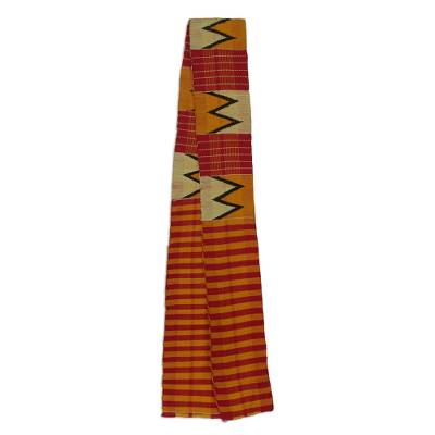 Cotton blend kente cloth scarf, 'Winner' (4 inch width) - Multicolored Cotton and Rayon Kente Scarf (4 Inch Width)