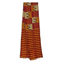 Cotton blend kente cloth scarf, 'Winner' (8 inch width) - Handcrafted Ghanaian Kente Cloth Scarf (8 Inch Width)