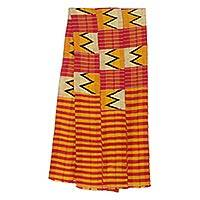 Cotton blend kente cloth scarf, 'Winner' (12 inch width) - Colorful Cotton and Rayon Blend Kente Scarf (12 Inch Width)