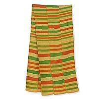 Cotton blend kente cloth scarf, 'Prince' (12 inch width) - Cotton Blend Kente Scarf from Ghana (12 Inch Width)