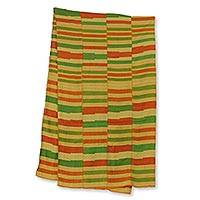 Cotton blend kente cloth scarf, 'Prince' (17 inch width) - Orange Green and Yellow Kente Style Scarf (17 Inch Width)