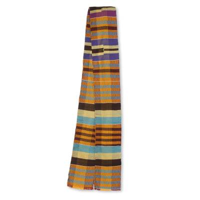 Cotton blend kente cloth scarf, 'Progress' (4 inch width) - Multicolor Stripe African Kente Cloth Scarf (4 Inch Width)