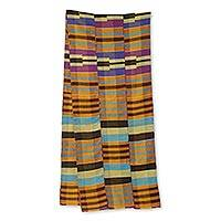 Cotton blend kente cloth scarf, 'Progress' (12 inch width) - Handmade Kente Scarf from Ghana Artisan (12 Inch Width)