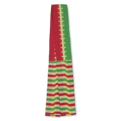 Cotton blend kente cloth scarf, 'Obasima' (5 inch width) - Cerise and Green Artisan Kente Cloth Scarf (5 Inch Width)