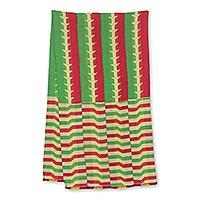 Cotton blend kente cloth scarf, 'Obasima' (18 inch width) - Colorful Cotton Blend African Kente Scarf (18 Inch Width)