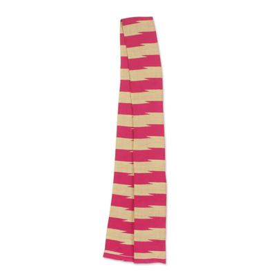 Cotton blend kente cloth scarf, 'Praise' (4 inch width) - Cotton Blend Ivory and Cerise Kente Scarf (4 Inch Width)