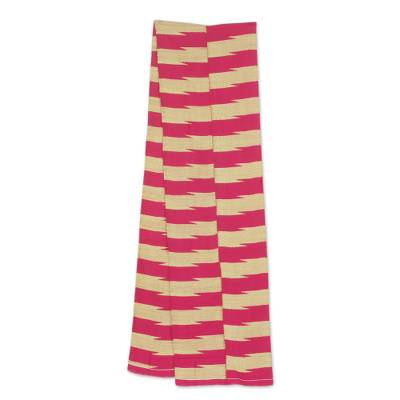 Cotton blend kente cloth scarf, 'Praise' (9 inch width) - Pink and Cream Handwoven Kente Cloth Scarf (9 Inch Width)