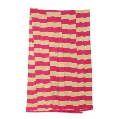 Cotton blend kente cloth scarf, 'Praise' (17 inch width) - African Kente Scarf in Cerise and Ivory (17 Inch Width)