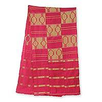 Cotton blend kente cloth scarf, 'Princess' (17 inch width) - Pink Kente Cloth Scarf Handcrafted in Ghana (17 Inch Width)