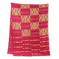Cotton blend kente cloth scarf, 'Princess' (22 inch width) - Hand Woven Pink and Ivory Kente Scarf (22 Inch Width)